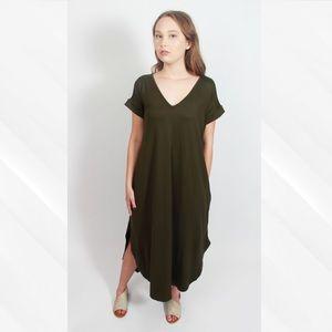 Entro Olive Green V-Neck Maxi Dress with Pockets
